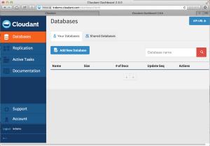 Cloudant WEB UI 메인 페이지
