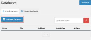 """""""Add New Database"""" 버튼 클릭하여 데이터베이스 추가"""